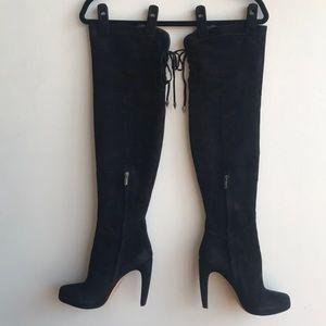 Sam Edelman Kayla Black Suede OTK Boots